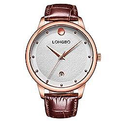 LONGBO Mens Casual Silver Case & Index Analog Quartz Business Watches Black Croco Leather Band Bracelet Wristwatch Waterproof Auto Date Calendar Couple Dress Watch For Man