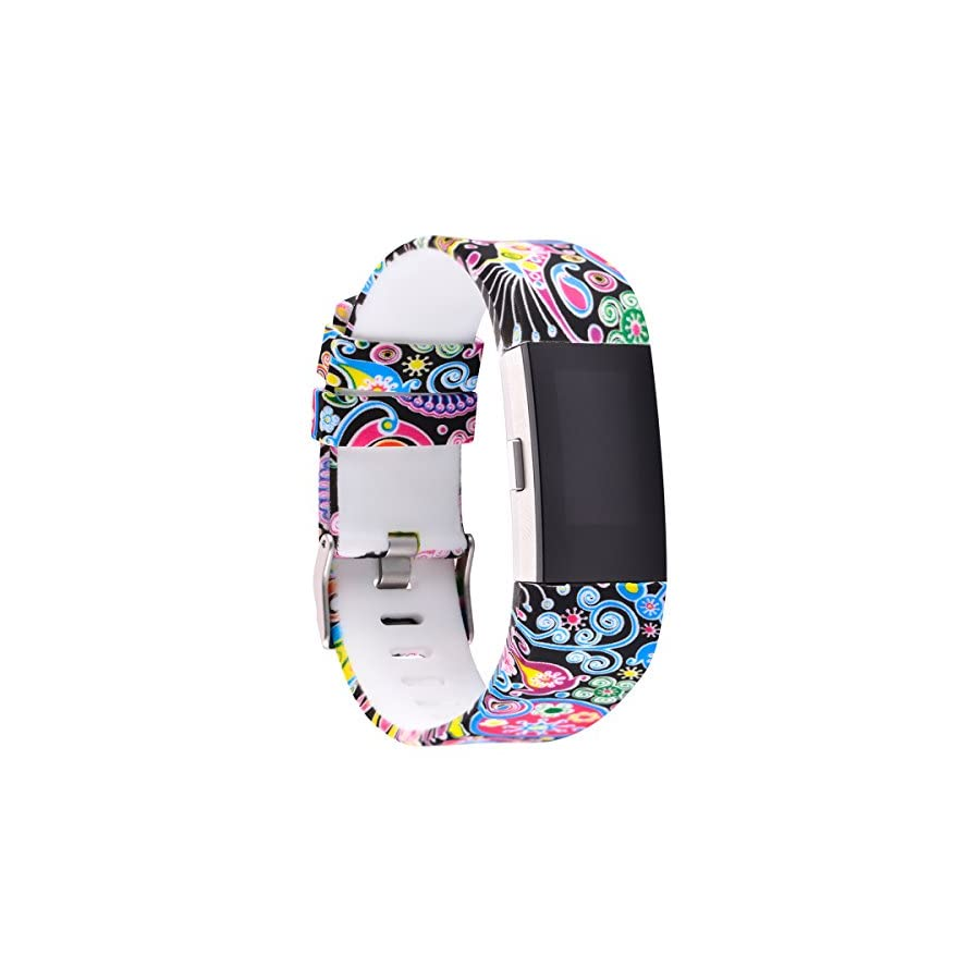 AIWELL for Fitbit Charge 2 Bands,Silicone Adjustable Replacement Sport Strap Printed Bands with Classic Buckle for Fitbit Charge2 HR,Fitbit Charge 2 Accessories Wristbands