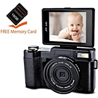 Digital Camera Camcorder Full HD 1080p 24MP Video Camera 3.0-Inch LCD Mini Video Camcorders with 16GB SD Card And UV Lens