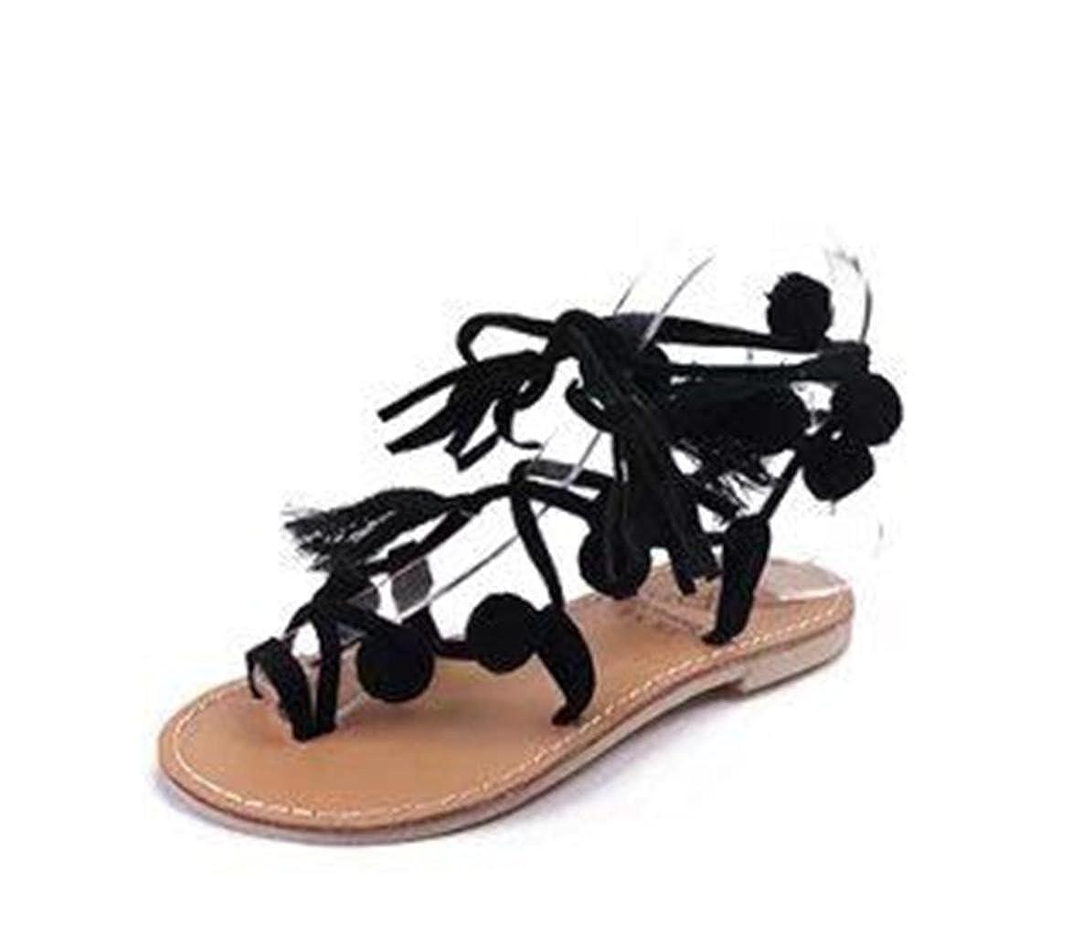 MNII Damen Damen Damen Damen Neue SchnüRung Toe Farbe Fluff Pelz KnöChel Strappy Stiletto High Heel Sandale GrößE Riemen BerüHmte Winde schwarz a5b324