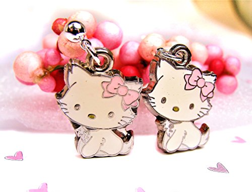 Cute Kitty Earrings with Pink Bows (Enameled Kitty)