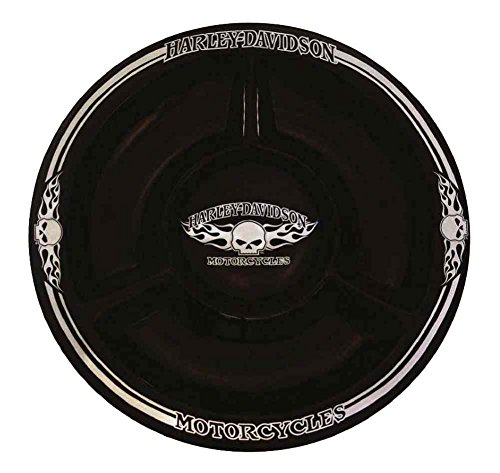 Harley Davidson Set (Harley-Davidson Chip N Dip Flaming Willie G Skull Ceramic Plate, 12 In HD-HD-902)