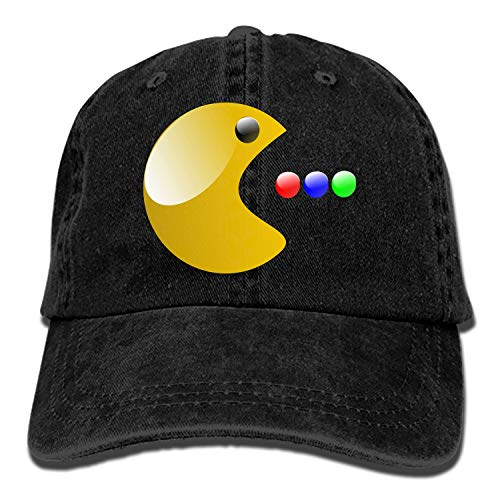 Pac Face Man (Pac Man Game Smiley Classic Washed Cotton Baseball Cap Hip Hop Adjustable Cowboy Cap)