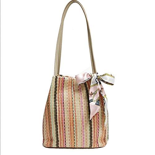 colored Simple Bucket Bag Holiday Multi Bandage Bag Beach Rattan Beige Woman GAOQQ Weave Bag Summer Fashion Bag Cax5qxwYf