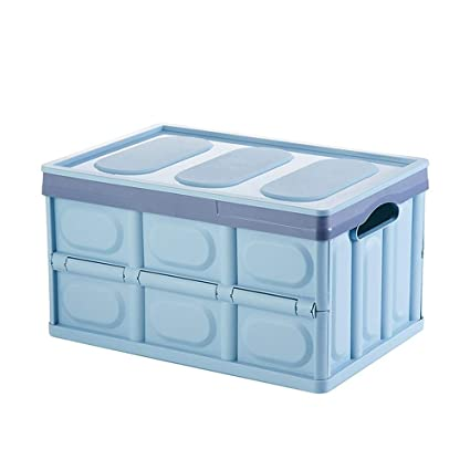 ZHX Caja de Almacenamiento Plegable de plástico, apilable, portátil, con Tapa y manija