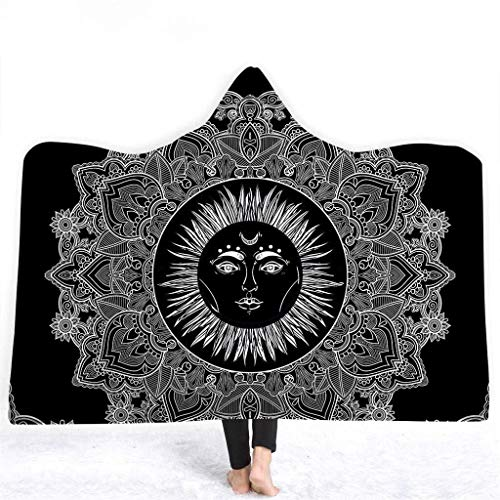 Velveteen Adult Cape - Zzyff Hooded Blanket 3D Buddha Series Printed Hooded Blanket Winter Thick Warm Soft Plush Cloak Cape Air Conditioning Blanket (Size : 150 x 200cm)