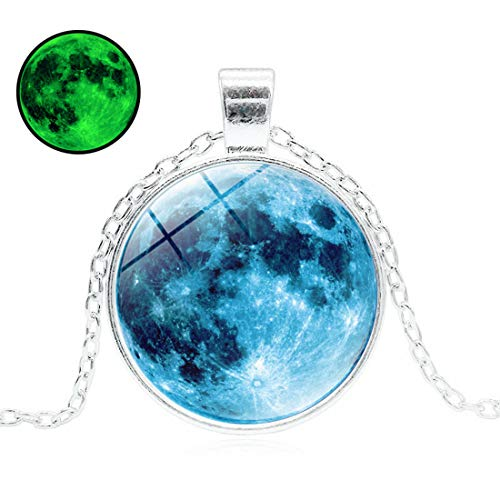 (HUNO Magical Glow in The Dark Full Moon Link Chain Universe Galaxy Pendant Necklace White Gold Plated Unisex Luminous Jewelry)
