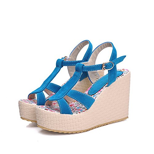 Heels Women's Open Toe Wedges Buckle Blue Platforms Solid amp; WeenFashion High Frosted dtWpqqZ