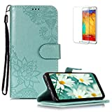 Funyye PU Leather Wallet Case for Samsung Galaxy S8 Free HD Protector,Premium Lace Flower Pattern Magnetic Flip with Cash Pouch Card Slot Design Cover for Samsung Galaxy S8,Green