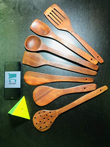 Simran Handicrafts Handmade Wooden Non Stick Cooking and Serving Set of 7   2 Frying, 1 Serving, 1 Spatula, 1 Chapati Spoon, 1 Desert, 1 Rice