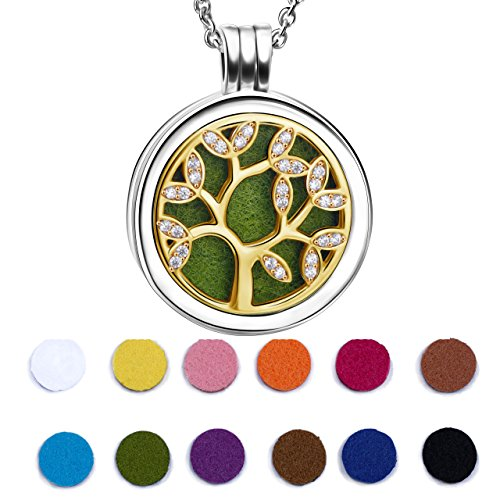 925 Sterling Silver 18K Yellow Gold Plated Life Tree Essential Oil Diffuser Locket Necklace (Yellow Slip 14k Gold)