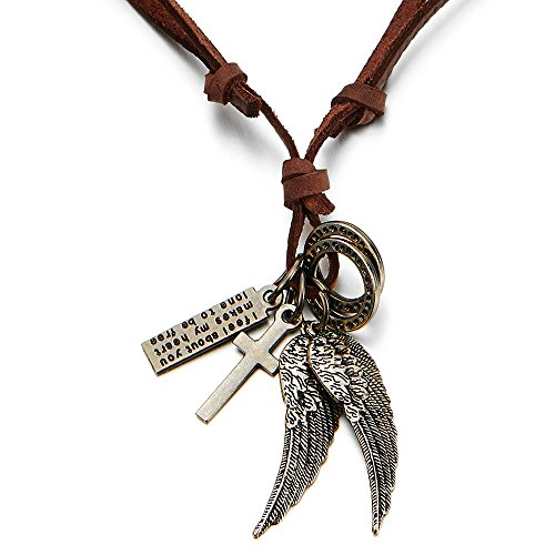 COOLSTEELANDBEYOND Retro Style Angel Wings and Cross Pendant Necklace for Mens Womens Adjustable Brown Leather Cord