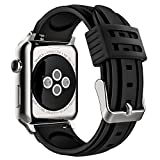 MoKo Band for iWatch Series 3, Soft Silicone Replacement Sports Band + Watch Lugs for iWatch 38mm 2017 Series 3 / 2 / 1, BLACK (Not fit 42mm Versions)