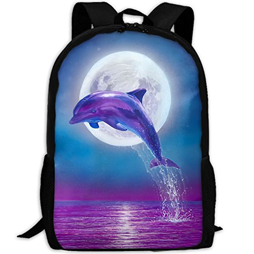 Dolphin Jumping Under Moonlight Unique Outdoor Shoulders Bag Fabric Backpack Multipurpose Daypacks For Adult (Moonlight Dolphin)