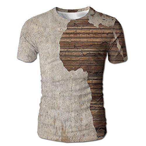 Vintage Wooden Africa Map Wall Male Breathable Round Neck Summer Short Sleeve Tee Shirt (Map Africa T-shirt)