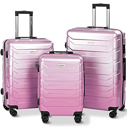Goplus 3PCS Expandable Luggage Set, Durable Trolley ()