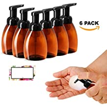 FOAMING SOAP DISPENSERS, BROWN AMBER PLASTIC BAIRE BOTTLES, 8.30 OZ with Black Pumps - Turn Your Soap, Shampoo, Body Wash into LUXURIOUS FOAM, PET, BPA Free, 6 PK, BONUS 6 FLORAL LABELS
