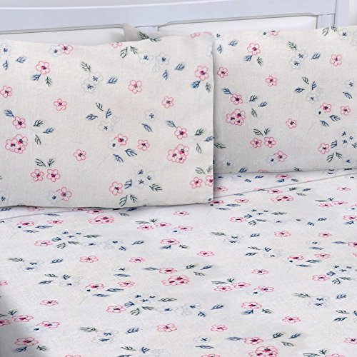 Mellanni 100% Cotton 4 Piece Printed Flannel Sheets Set - Deep Pocket - Warm - Super Soft - Breathable Bedding (Queen, Mini - 1 Flowers Sheet
