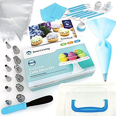 Cake Decoration Set   50 Pieces Kit   Top-Grade Stainless Steel Bakery Supplies   Set of 6 Russian Piping Tips, 6 Cone Tips, 1 Spatula, Scraper, Cupcake Corer, Fantang Tool and More   Smart Living