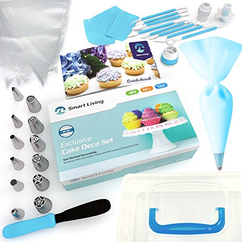 Smart Living Cake Decoration Set | 50 Pieces Kit | Top-Grade Stainless Steel Bakery Supplies | Set of 6 Russian Piping Tips, 6 Cone Tips, 1 Spatula, Scraper, Cupcake Corer, Fantang Tool and More by Smart Living