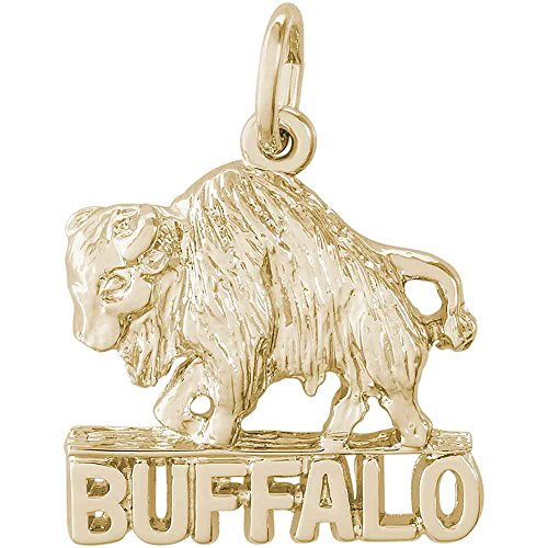 Rembrandt Charms Buffalo Charm, 14K Yellow (14k Gold Buffalo Charm)