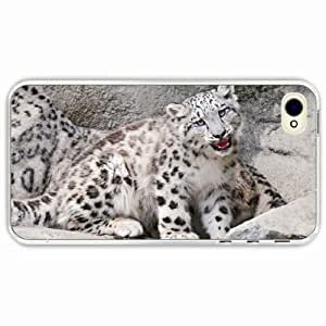 iPhone 4 4S Black Hardshell Case ounce mouth rocks snow leopard Transparent Desin Images Protector Back Cover