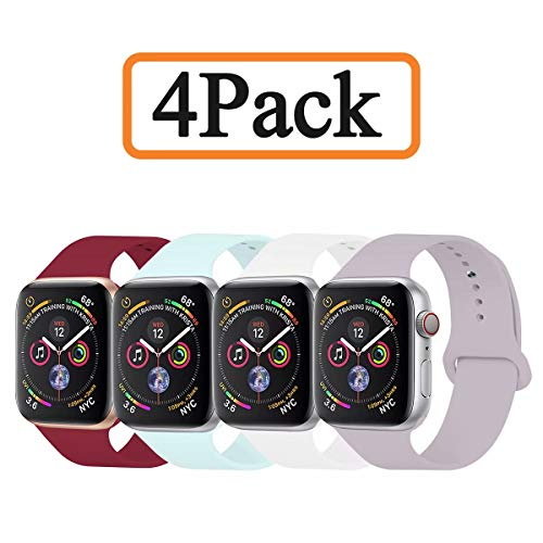 YANCH Compatible with for Apple Watch Band 42mm 44mm, Soft Silicone Sport Band Replacement Wrist Strap Compatible with for iWatch Series 4/3/2/1, Nike+,Sport,Edition,M/L,Size,4 Pack ()