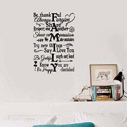 Liuaio Quotes Wall Sticker Mural Decal Art Home Decor Family Vertical Be Thankful Always Forgive Respect One Another Show Compassion (A Thankful Heart Creates A Thankful Home)