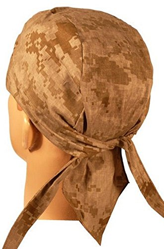 Elk Tie Backs (Digital Desert Tan Khaki Camo Camoflauge Head Wrap Durag Skull Cap Made in USA America)