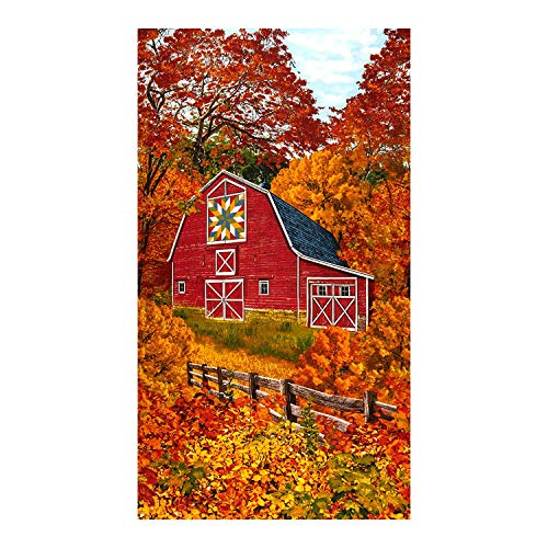 Timeless Treasures Autumn Barn with Quilt Design Panel Cotton Fabric