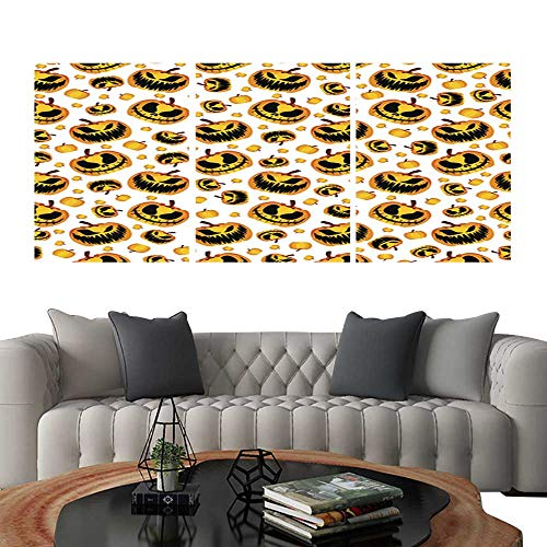 UHOO Triptych Paintings Combination DecorativeScary and Spooky Halloween Pumpkin Seamless Halloween Pattern1. Bedroom,Hotel so on 24