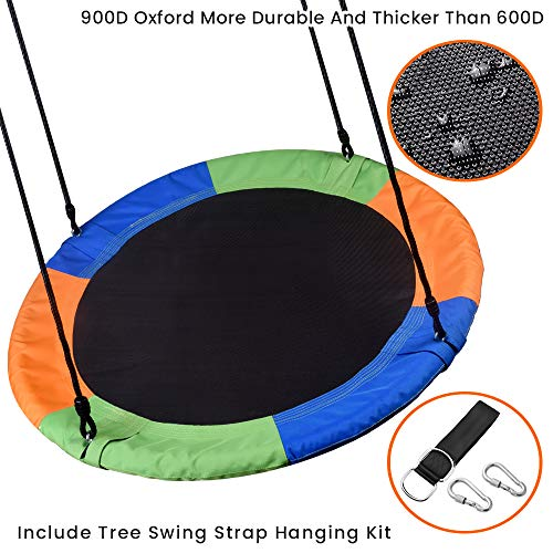 WONDERVIEW Tree Swing, Outdoor Swing with Hanging Strap Kit, 40 Inch Diameter 600lb Weight Capacity, Great for Playground Swing, Backyard and Playroom (MX)