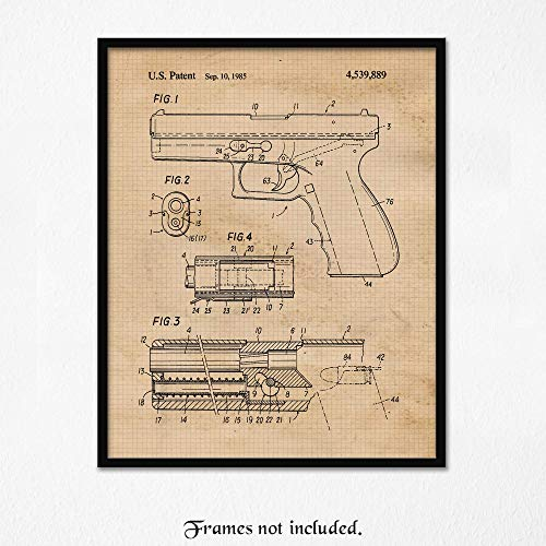 Original Glock Gun Patent Art Poster Print - Set of 1 (One 8x10) Unframed Photo- Great Wall Art Decor Gifts under $10 for Home, Office, Studio, Garage, Man Cave, NRA Fan, Owner, Action Movie Fan
