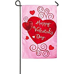 Gifted Living Scroll Applique Valentine Hearts Garden Flag , Pink/Red