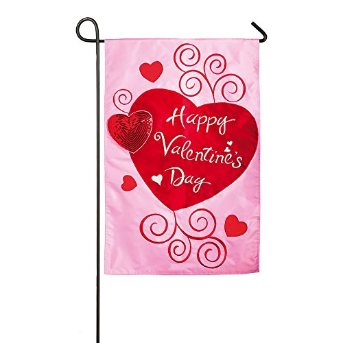 Gifted Living Scroll Applique Valentine Hearts Garden Flag, Pink/Red ()
