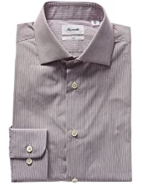 Faconnable Mens Club Fit Dress Shirt, 43, Red