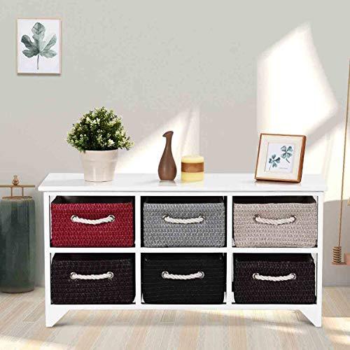 """WATERJOY Wooden Basket Storage Chest, Wooden Storage Shelves with 6 Drawer Baskets, (35.5"""" L x 12"""" W x 18"""" H)"""