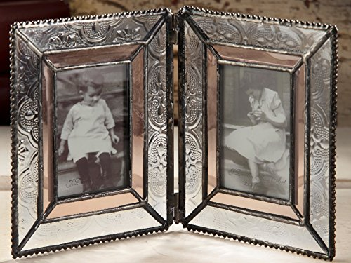 Antique Pink Glass (J Devlin Pic 172-2 Double Picture Frame Table Top 2x3 Photo Frame Champagne and Vintage Glass Frame Keepsake Frame for School Pictures)