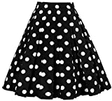 Womens Casual Polka Dots High Waist A line Swing Midi Skirts D111 (Black, L)