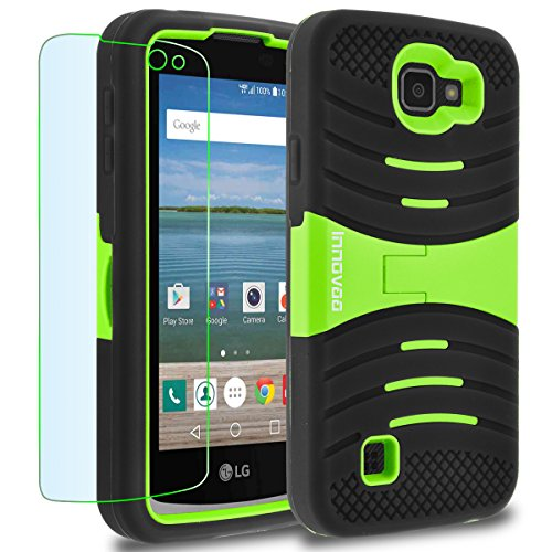LG Optimus Zone 3 / K4 / Spree Case, INNOVAA Turbulent Armor Case W/ Free Screen Protector & Touch Screen Stylus Pen - Green/Black (Lg Phone Case Optimus compare prices)