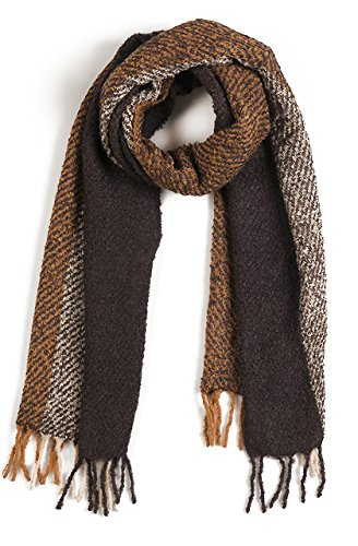 Alpaca Boucle Scarf - Triple Stripe Nubby Rustic Weave Baby Alpaca & Silk Boucle Scarf - Unisex (Hemlock / Ecru / Goldenrod)