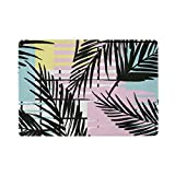 U LIFE Summer Beach Palm Trees Tropical Striped Passport Cover Holder Case Leather Protector with Slots for Women Men Kids