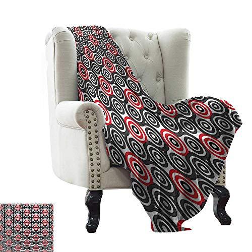 (Geometric Circle Decor,Warm Blanket Interlace Spiral Labyrinth Blind Oval Linked Mosaic Artistic Image 50