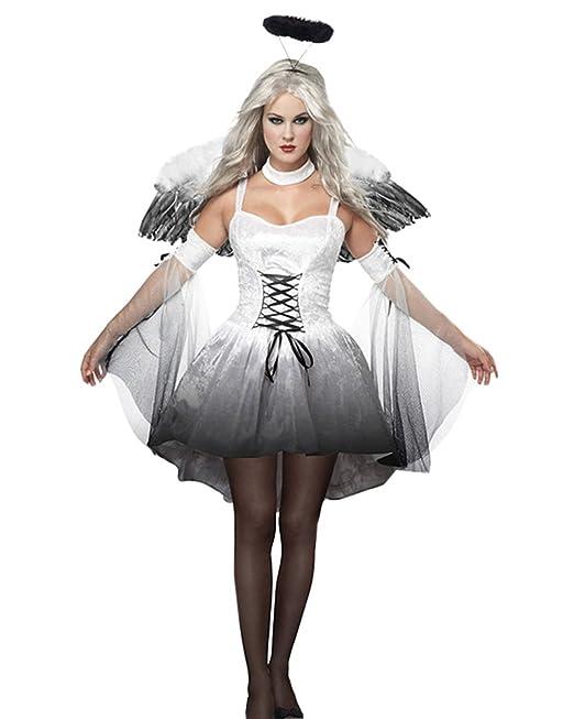 e1adb301d91b DianShao Donna Angelo Costume Halloween Cosplay Vestito Carnevale Grigio  2843 S  Amazon.it  Abbigliamento