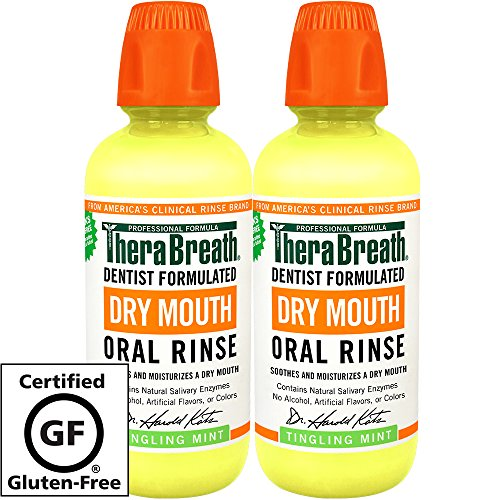 Mouth Oral Rinse – Dentist Formulated – Natural Salivary Enhancer – Tingling Mint Flavor – Natural Mouth Moisturizer – 16 Ounces – Two-Pack ()