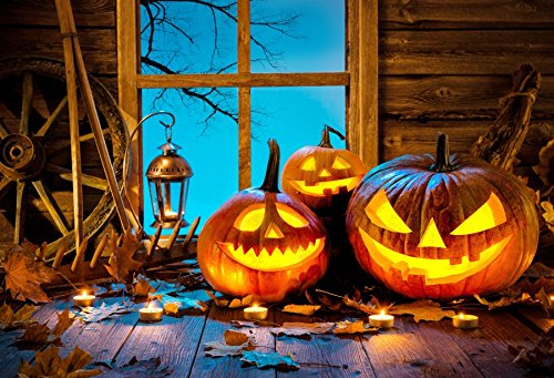 Baocicco Grimace Pumpkin Lantern Plank Windowsill Halloween Night Backdrop 8x6ft Vinyl Photography Candle Light Wheel Old Lantern Farm Barn Interior Party Celebration ()