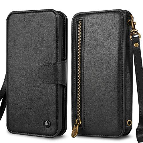 CORNMI Wallet case Compatible with iPhone XR PU Leather Wallet Phone Case Compatible with iPhone XR Leather Zipper Flip Purse Bag Premium Zipper Flip Wallet Case Cover (6.1 inch)- Black