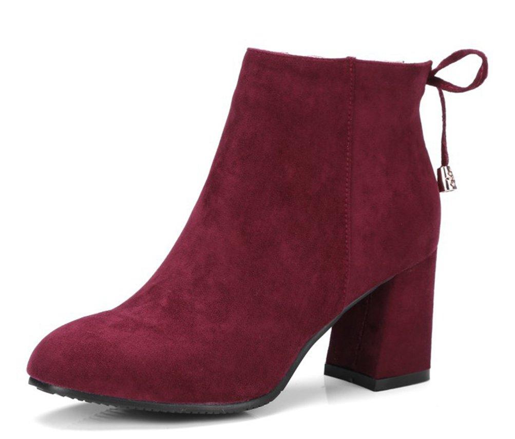 Easemax Damen Klassisch Nubuk Schleife Ankle Boots Mit Absatz Aprikosen 43 EU 9XkFuVMB
