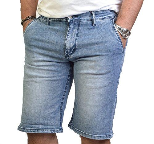 Pantaloncino Uomo Corto Jeans Denim Bermuda Chiaro Tasche America ANTONY MORALE Art.9591K