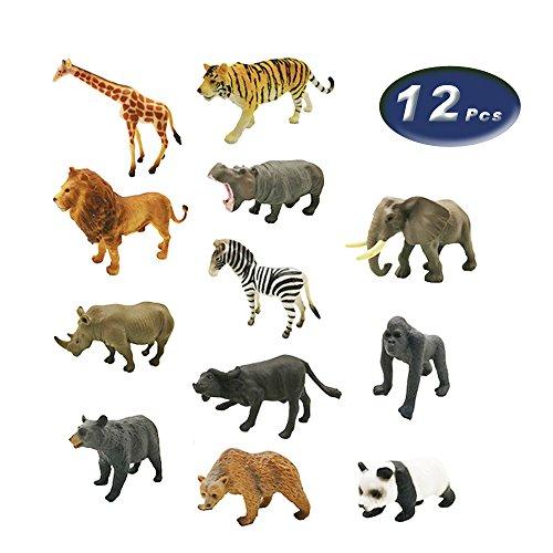 12 Pcs Realistic Safari Animal Set Animal Toys For Children, Birthday Party Favors, Classroom Educational Animal Figures, (Including Lion, Tiger, Elephant, Bear, Zebra, Giraffe, Cattle etc.)